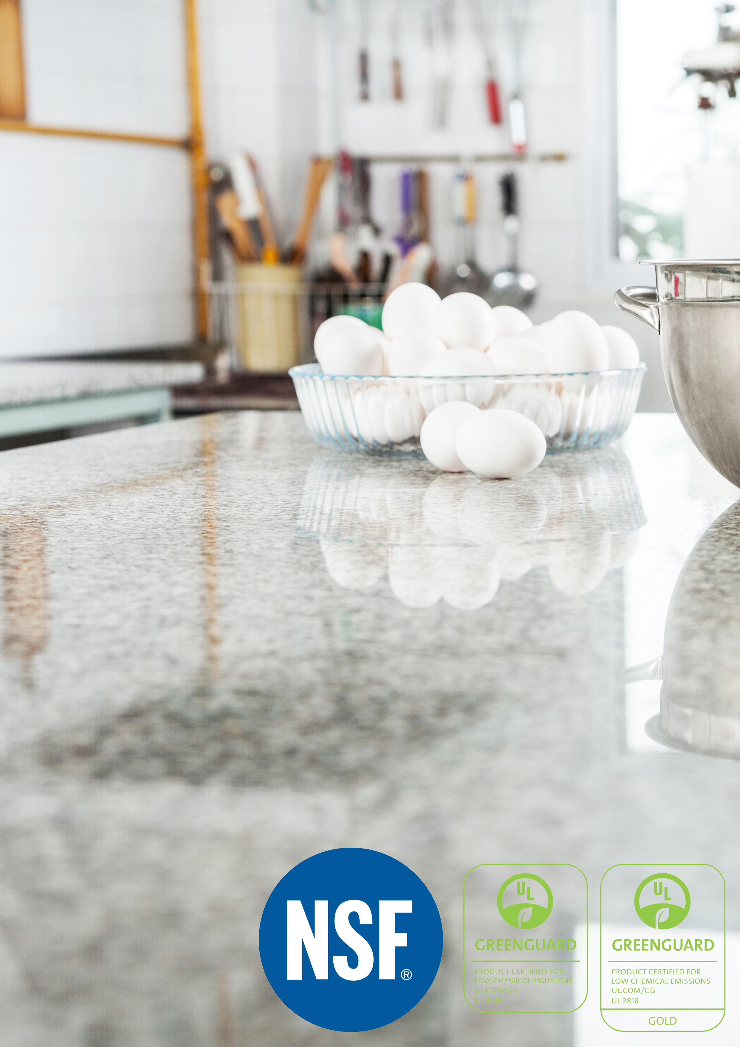 NSF & Greenguard Certified Solid Suface Counter & Table Tops