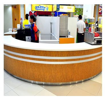Metro Ayala Foodcourt Bar Counter Top Nougat White