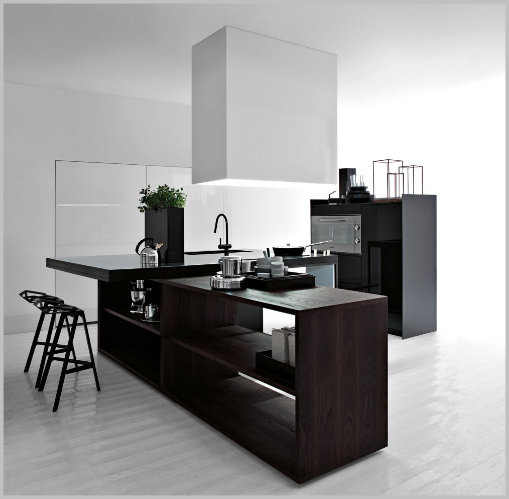 black and white Minimalist kitchen with wooden island