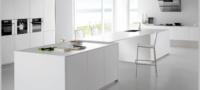 white minimalist kitchen island interior design