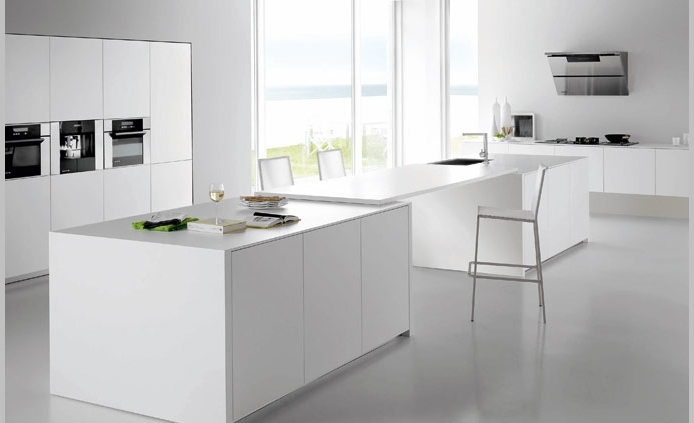 white minimalist kitchen island interior design