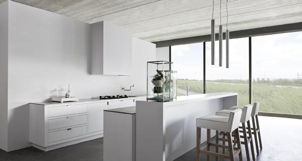 minimalist kitchen design idea bar stool